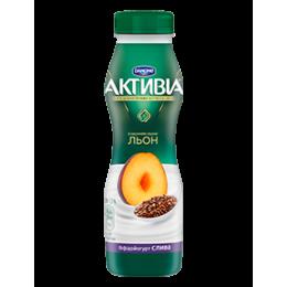 Активіа Біфідойогурт питний 1,5% 290г слива-льон