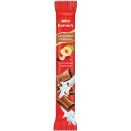 Молочний шоколад «КОРОНА» з подрібненими лісовими горіхами 35г