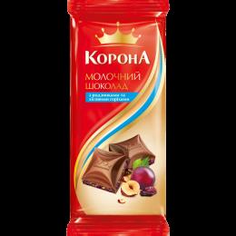 "Молочний шоколад ""Корона"" з родзинками та горіхами 90г"