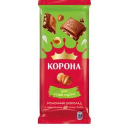 Молочний шоколад «Корона» з цілими лісовими горіхами 85г